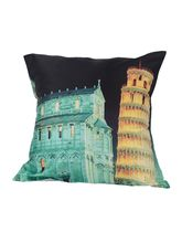 Me Sleep Leaning Tower Of Pisa Cushion Covers Digitally Printed-7 Wonder Of The World Series - Set Of 5, Multicolor