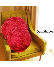 Set Of 2 Romantic Rose Style Cushion Covers With Filler - 7 Color Options, maroon