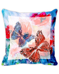 Leaf Designs Light Blue & Peach Butterfly Cushion Cover, multicolor