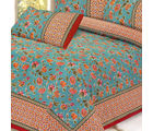 Teal Mughal Printed Pure Cotton Double Bed Sheet Set, multicolor