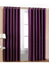 La Elite Eyelet Plain Door Curtain - 1 Pc, Purple