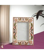 Painted Photo frame in gold work (Multicolor)