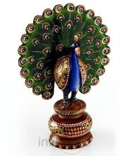 Handpainted Enamelled Metal Dancing Peacock (Multicolor)