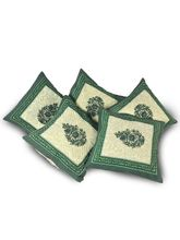 Little India Floral Hand Block Quilted Green Cushi...