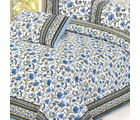 Azure floral hand print Pure Cotton Double Bed Sheet Set, multicolor
