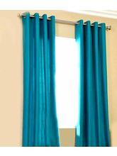 La Elite Eyelet Plain Door Curtain - 1 Pc, Sky Blu...