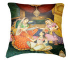 Belkado Digital Print Indian Princess Cushion Cover, multicolor