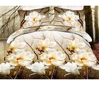 Story King Size Printed Designer White Flowers Impression Double Bed Sheet, multicolor