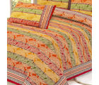Gold Paisley Print Pure Cotton Double Bed Sheet Set, multicolor