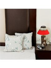 Alice Blue Dupion Silk Decorative Cushion Cover Set (Blue)