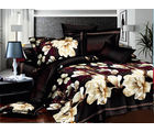 Story King Size Impression Lovely Printed Fancy Flowers Beautiful Double Bed Sheet, black