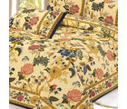 Floral Mughal Print Pure Cotton Double Bed sheet Set in Cream, multicolor