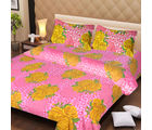 La Elite pure Thick Cotton Golden Roses Print Double Bed Sheet, pink