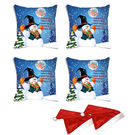 meSleep Set of 4 Christmas Santa Digitally Printed Cushion Cover (16x16) -With Free 2 Pcs,  blue