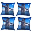 meSleep Digital cushion cover of beautiful bridge (Set of 4), multicolor