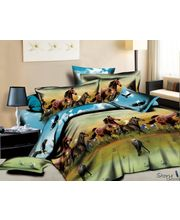 Story King Size Horses Double Bed sheet IM1063, multicolor