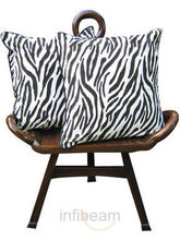 Black N White Tiger Stripes Cushion Covers - Set Of 2 Pcs (Multicolor)