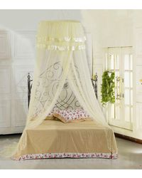 SLR Nets Mosquito net American Style Front open dome hanging with lase design,  white