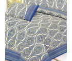 Mughal Gold Print Pure Cotton Double Bed Sheet Set, multicolor