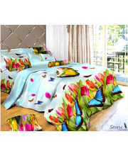 Story King Size Blue Butter Fly Double Bed sheet IM1052, multicolor