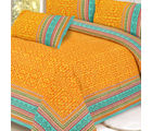 Gold print Pure Cotton Double Bed sheet, multicolor