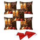 meSleep Set of 5 Christmas Glass Digitally Printed Cushion Cover (16x16) -With 2 Pcs, multicolor