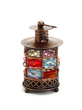 Durable Metal Glass Tea Light Holder With Balled Feet, Multicolor