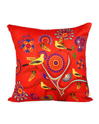 The Elephant Company Bird Song Tree Red Cushion Cover, multicolor