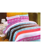 Valtellina Pollycotton Abstract Design Single Bed Sheet, multicolor