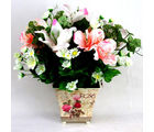 Arrangement Of Mixed Silk Flowers In Designer Vase (Multicolor)