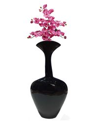 HM Steels Aluminium Flower Vase Heart Shape,  black