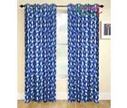 HandloomTrendz Stylish Eyelet Style Door Curtain, blue