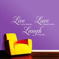Creative Width Live Love Laugh Wall Decal, multicolor, medium