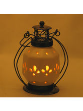 Classic Pure White Ceramic Lantern With Wrought Iron