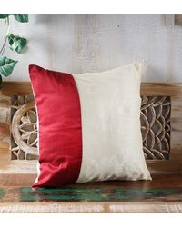 Rang Desi White Silk 16 x 16 Inch Cushion Cover,  white