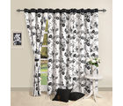 Black n white floral curtain (Multicolor, Curtain(54 inch x 60 inch))