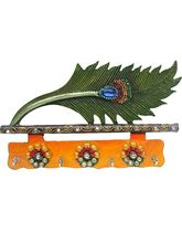 Peacock Feather Colorful Key Holder Door Wall Hang...