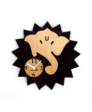 Panache Wood Ganesha Wall clock, brown