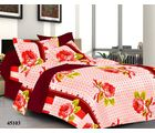 Welhouse India Rose Double Bed Sheet With 2 Pillow Covers, red