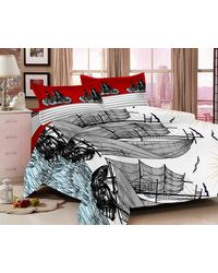 Valtellina Attractive Ship Design Double Bedsheet With 2 Pillow Cover (VB-805), multicolor