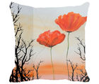 Leaf Designs Sunset and Floral Cushion Cover, multicolor