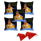 meSleep Set of 5 Christmas House Digitally Printed Cushion Cover (16x16) -With 2 Pcs, multicolor