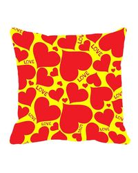 meSleep Yellow Red Heart Valentine Cushion Cover,  yellow