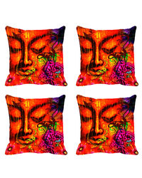 meSleep Set of 4 Cushion Cover with Colored Back, design12