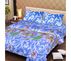 La Elite pure Thick Cotton Print Double Bed Sheet, blue