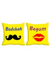 meSleep Set of 2 Pc Digitally Printed Cushion Cover -Size(16x16) showing love, multicolor