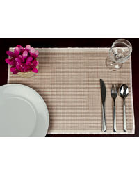 Rope Premium Talipot Table Mats, Striped - Pink - Set Of Six, pink