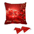 meSleep Merry Christmas Digitally Printed Cushion Cover (16x16) - With 2 Pcs,  red