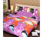 La Elite pure Thick Cotton Enthralling Toons Print Double Bed Sheet, purple
