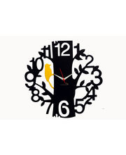 Panache Designer Wall Clock 1 to 12 Tree Black, black